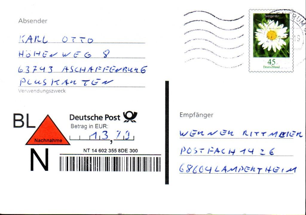 Nachnahme-Pk 45 c - 2013